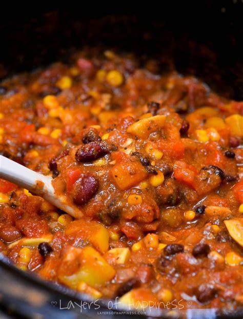 vegetarian chili cooker recipe easy cooker vegetarian chili vegetarian recipes