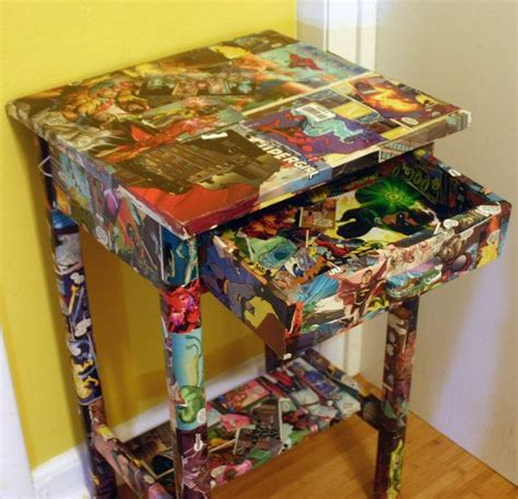 decoupage comic book comic book side table marvel and dc comics decoupaged