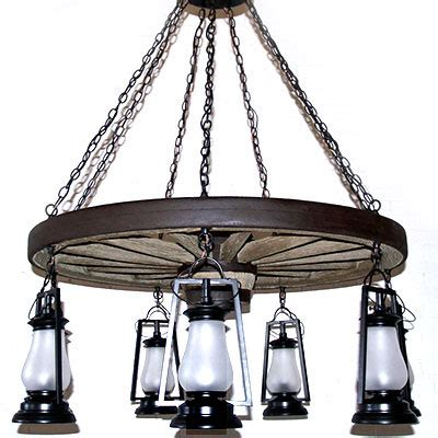 Copper Canyon Old Colorado Wagon Wheel 7 Light Lantern Wagon Wheel Ceiling Light