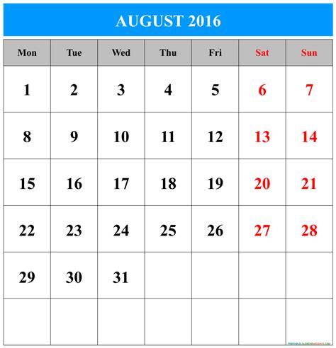 2016 Calendar August August Calendar 2016 Printable Free Printable 2017