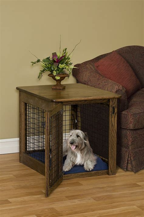 wood dog crate  table loccie  homes gardens ideas