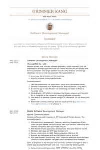 Application Development Manager Sle Resume gestionnaire de d 233 veloppement de logiciels exemple de cv base de donn 233 es des cv de visualcv