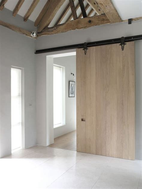 Sliding Contemporary Barn Door Old Oak Beams Raw And Modern Sliding Barn Doors