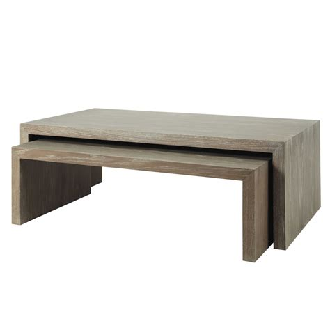 wooden nested coffee tables in grey w 115 130cm baltic