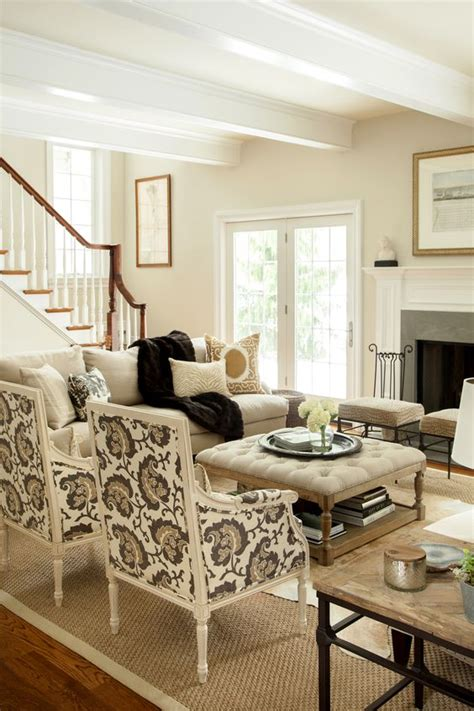 Large Scale Living Room Neutral Living Room Hip Traditional Large Scale Print On