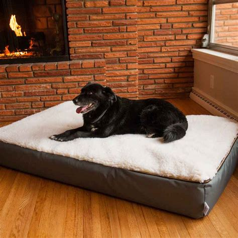 bedside dog bed super orthopedic lounge dog bed w cream sherpa snoozer
