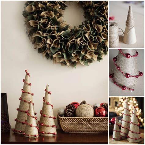 creative ideas diy twine  bead christmas trees
