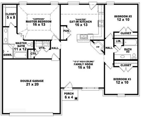 3 Bedroom 3 Bath House Plans 653788 One Story 3 Bedroom 2 Bath Traditional