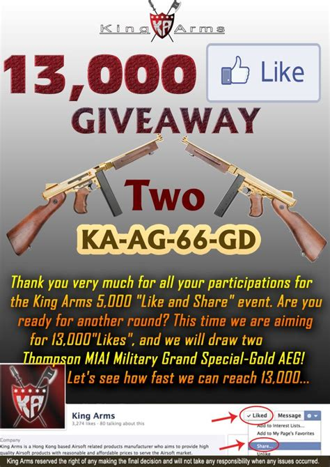 Airsoft Giveaway - king arms 13 000 likes giveaway airsoft milsim news