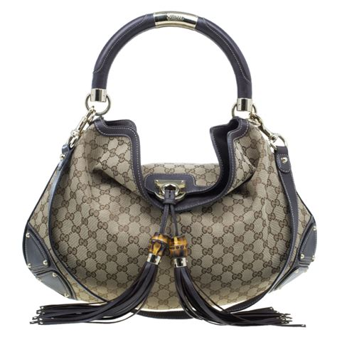 Gucci Gunmetal Indy Large Top Handle Bag by Gucci Beige Monogram Canvas Large Indy Top Handle Bag