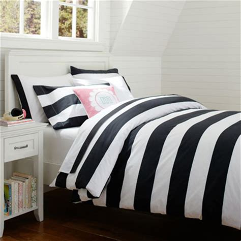 black and white cottage stripe duvet cover decor by color