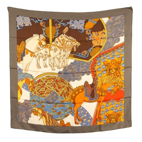 hermes silk scarf des steppes authentic pre owned