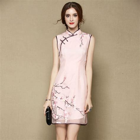 Id Floral Cheongsam Lace Dress sweet sleeveless silk cheongsam qipao dress pink qipao
