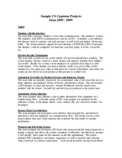 Mba Capstone Project Ideas by Sle Capstone Projects From 2005