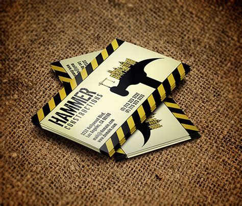 20 construction company business cards free templates