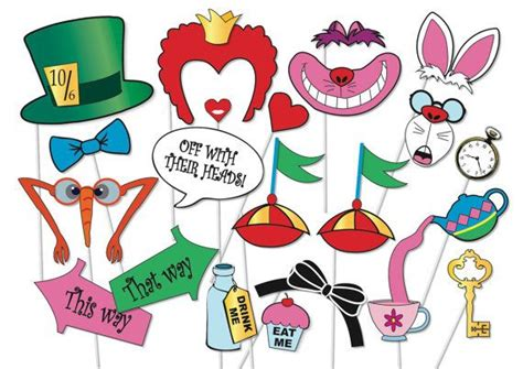 printable alice in wonderland photo booth props mad hatter tea party photo booth props set 20 piece