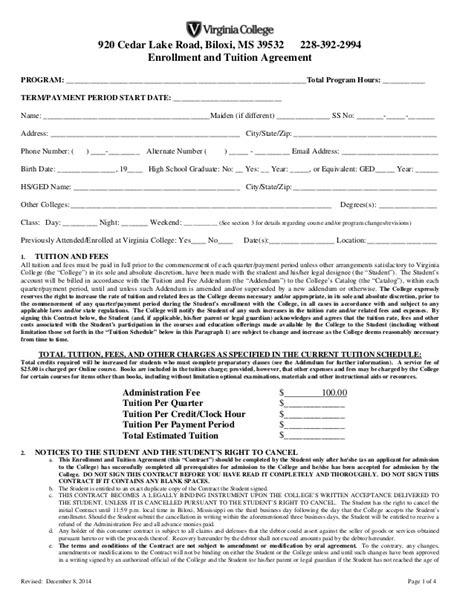 Enrollment Agreement Biloxi Final 12 8 14 Tuition Contract Template