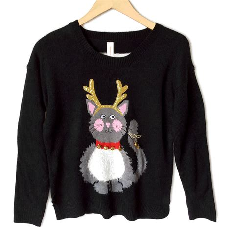 Cat Sweaters - jingle bell reindeer cat sweater