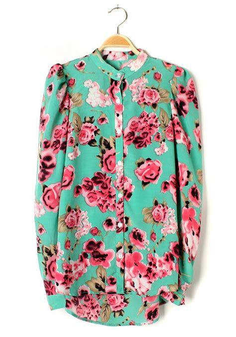 Flower Blouse green flowers print irregular bat sleeve chiffon blouse blouses tops