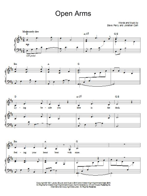 tutorial piano open arms open arms sheet music by journey piano vocal guitar