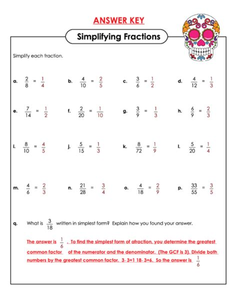 Fraction Worksheet With Answer Key by Simplifying Fractions Worksheet With Answers Fractions