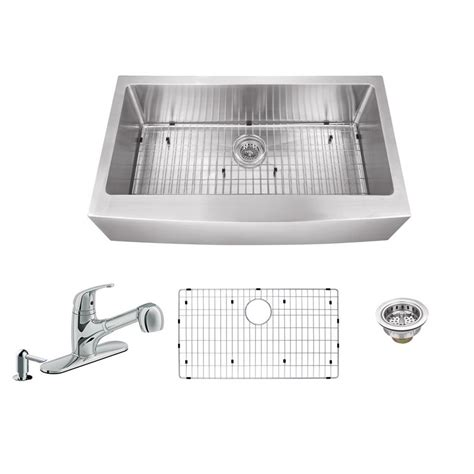 newage products stainless steel classic 32 in sink all in one apron front stainless steel 32 875 in single