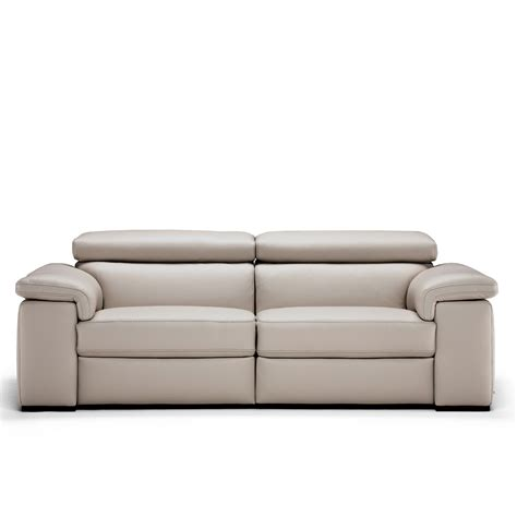 Natuzzi Editions Moretta Large Silver Grey Leather Power Natuzzi Leather Reclining Sofa