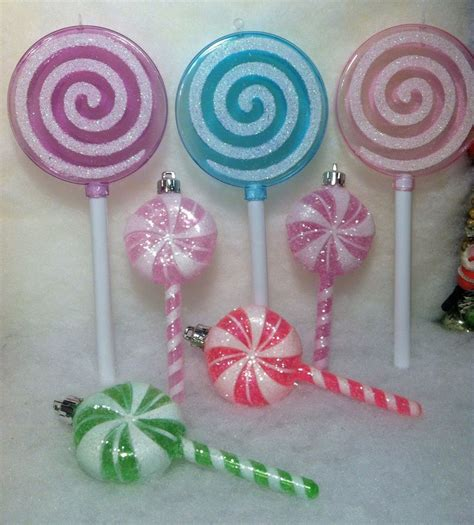 7 lollipop candy christmas tree ornaments pink purple