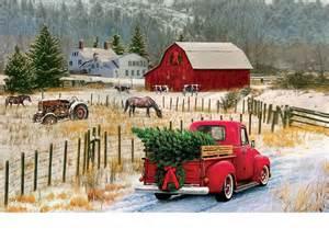 Red Doormat Indoor Amp Outdoor Christmas Truck Amp Barn Insert Doormat 18x30