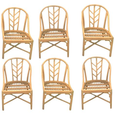 mcguire dining room chairs set   rattan raw hide wraps  sale  stdibs
