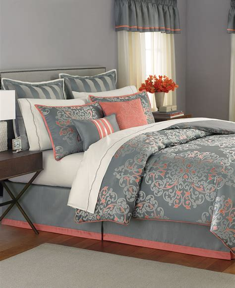 coral and gray bedding martha stewart collection bedding grand from macys