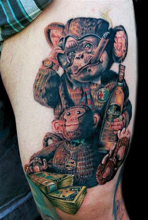 weird tattoos monkey by cecil porter tattoos