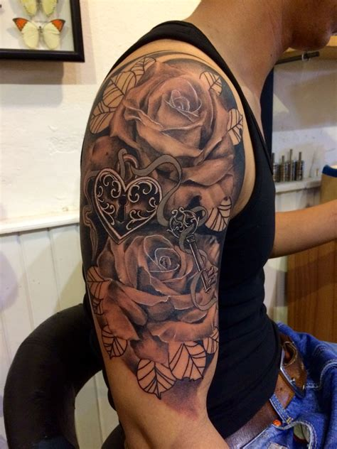 rose and key tattoo lock and key coverup by
