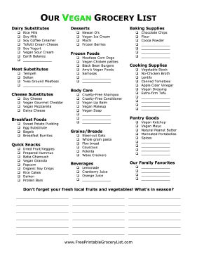 vegan grocery list template printable vegan grocery list