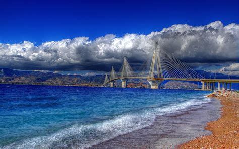 Painting Houses by Rio Antirrio Bridge Greece 2560 X 1600 Locality