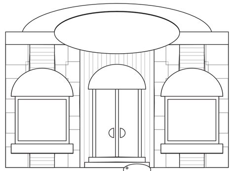 187 store fronts shop 9 black white line art coloring book