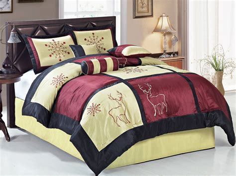 patchwork comforter set 7 pc satin embroidery snowflake deer holiday patchwork