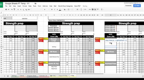 setting up your google sheets personal training template
