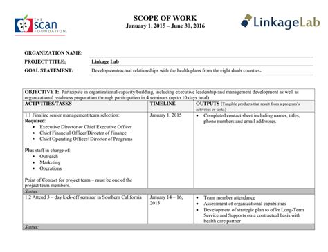 Scope Of Work Template In Word And Pdf Formats Scope Of Work Template Doc
