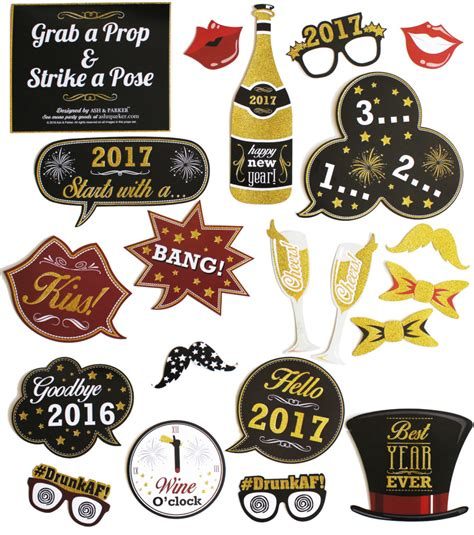 new year s eve photo booth props 2017 printable 2016 to 2017 new years eve photo booth props with real