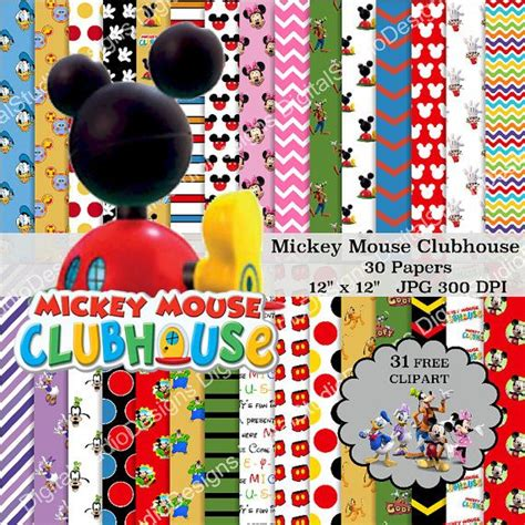 mickey mouse digital mickey mouse clubhouse digital paper pack 30 papers 31