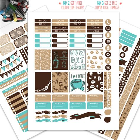 coffee planner stickers printable coffee planner stickers printableweekly kit stickers for