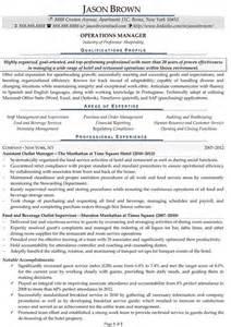 Tourism Manager Sle Resume by Hospitality Resume Exles Resume Professional Writers