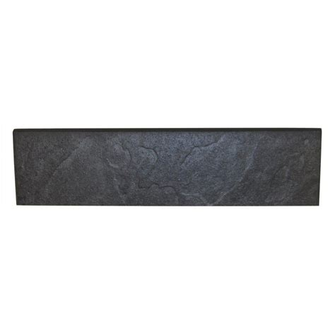 daltile continental slate asian black 3 in x 12 in porcelain bullnose floor and wall tile