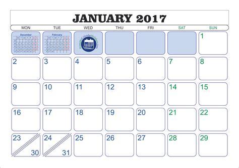 Printable Monthly Calendar 2017 January