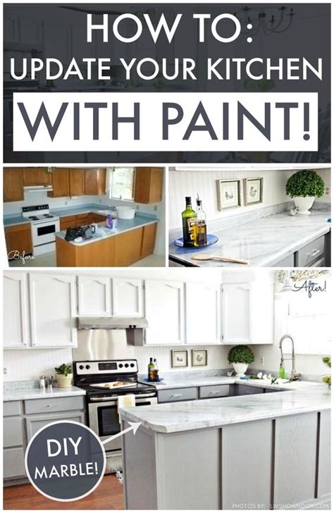 How To Paint Existing Kitchen Cabinets Diy Kitchen Makeover On A Budget Giani Granite Countertop Paint Kits Transform Existing