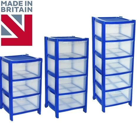 blue drawer plastic large tower storage chest unit