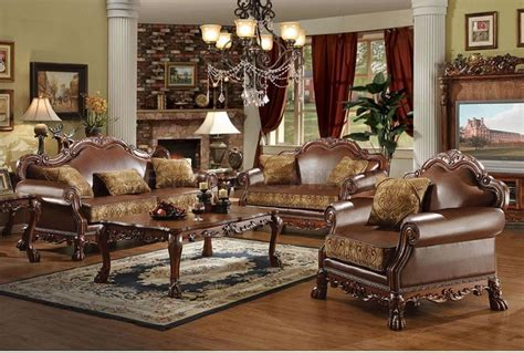 classic living room sets brown bycast leather chenille traditional 3pc sofa set