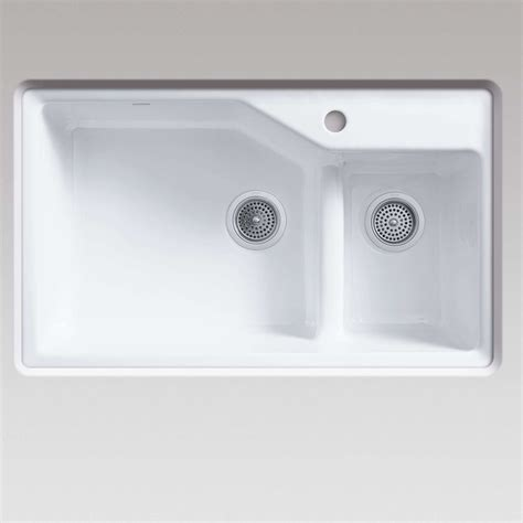 kohler smart divide sink kohler indio 6411 smart divide white cast iron sink