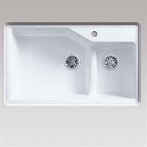 white cast iron sink kohler indio 6411 smart divide white cast iron sink